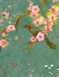 Bird and cherry blossoms. Modern Japanese art from etsy.