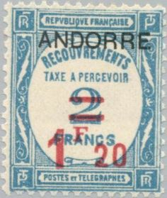 Post Assignments stamps from France with overprint ANDORRE