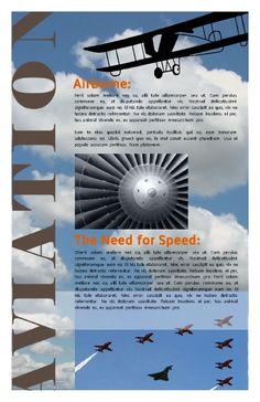 Informational poster. Aviation themed, but customizable. Great for schools, homework, fairs, events, seminars, and so on. Try this Free Template now using the PageProdigy Cloud Designer: www.pageprodigy.com/design?template=1219&size=3300x5100&theme=Education&source=pinterest