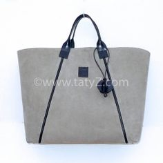 Grey suede and black leather shopping tote by TATYZ