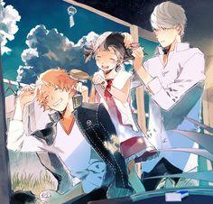 Tags: Fanart, Shin Megami Tensei: PERSONA 4, Narukami Yu, Pixiv, Hanamura Yousuke, Doujima Nanako, Pixiv Id 6694107