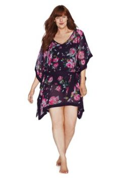 Women's Plus Size Rose Floral Chiffon Poncho Cover-up from Lands' End  This is really cute and they actually put it on a plus size model so you could see what it would look like, not on a size XSmall person! Just sayin! I like this for a cover up but also you could wear it as a long tunic over legging's or capri's.