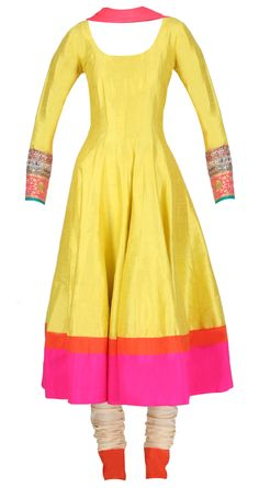 Lemon yellow kalidaar with pink and red bottom hemline by MANISH MALHOTRA. Shop at https://www.perniaspopupshop.com/manish-malhotra/manish-malhotra-3457