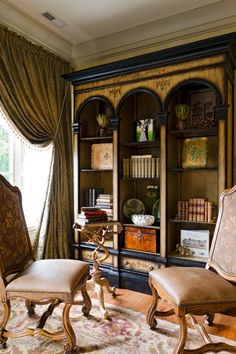2nd floor library cabinet, drapes are Beacon Hill damask from Italy