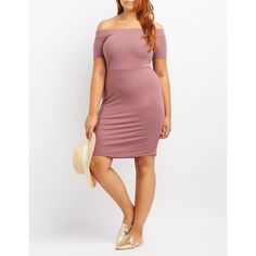 Charlotte Russe Off-The-Shoulder Bodycon Dress ($16) ❤ liked on Polyvore featuring plus size women's fashion, plus size clothing, plus size dresses, mauve, sexy plus size dresses, white off shoulder dress, sexy white dresses, bodycon mini dress and plus size off the shoulder dress