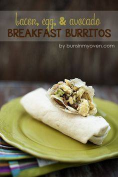 Bacon, Egg, & Avocado Breakfast Burritos