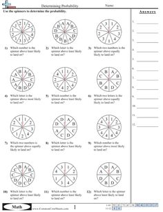 probability worksheets using a spinner math aids com pinterest ideas and worksheets. Black Bedroom Furniture Sets. Home Design Ideas