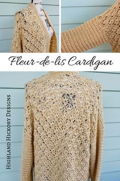 Crochet the Fleur-de-lis Cardigan with this intermediate level free pattern. Customize it to be a kimono, short sleeved or long sleeved. Easy Crochet Patterns, Crochet Designs, Crochet Stitches, Free Crochet, Knit Crochet, Crochet Tops, Crochet Crafts, Crochet Ideas, Crochet Baby