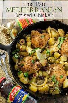 One Pan Mediterranean Braised Chicken | Fall in love with Mediterranean flavors with this easy and delicious one pan, one hour, braised chicken with creamy potatoes, roasted olives, bright lemon and fresh herbs!