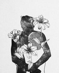 Digital designer and illustrator Muhammed Salah. Muhammed Salah is a 27 years old artist, illustrator, art director, digital designer and graphic designer. Drawing Sketches, Art Drawings, People Drawings, Pencil Drawings, Illustration Art Dessin, Muhammed Salah, Arte Indie, Couple Art, Love Art