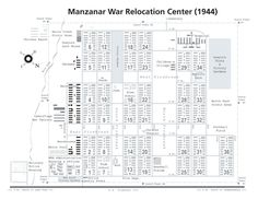 Diagram showing the layout of the Manzanar Relocation Center for deported Japanese-Americans, Inyo County, CA, 1944. | World War II Database (Source: US Army)