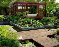 baño en jardín, espectacular!!