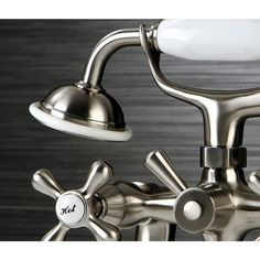 Victorian Deck-mount Clawfoot Satin Nickel Tub Faucet with Hand Shower in 6 inch Spread