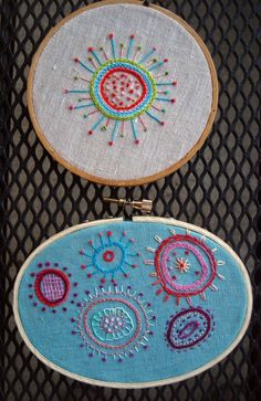 Two Hand Embroidered Framed Boho Funky Fabric Embroidery Art Creations in Wooden Hoops. $19,00, via Etsy.