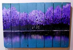 Original pallet art by Sara Bowles Art . com Les Bois Violet, in acrylic paint on a recycled pallet. SOLD