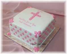 First Holy Communion or Baptism Cake – so cute for a little girl!