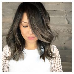 35 Smoky and Sophisticated Ash Brown Hair Color Looks -ash bronde balayage Brown Hair Looks, Ash Brown Hair Color, Black Hair With Highlights, Grey Hair, Asian Ash Brown Hair, Black Ash Hair, Hair Color For Asian, Asian Hair Highlights, Brown Hair Balayage