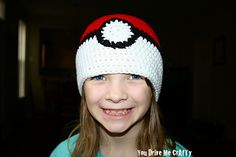 Poke' Ball Beanie - Free crochet hat pattern in sizes: baby/toddler/child/adult by You Drive Me CrAfTy