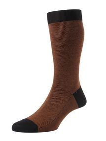 Aldgate men's bronze patterned socks by Pantherella. Made in England from Egyptian cotton lisle