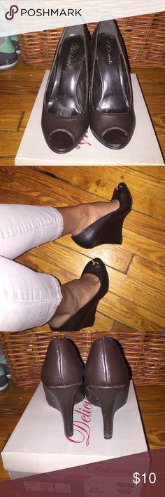 Dark brown peep toe wedge heel 3.5 inch dark brown peep toe wedge heel Delicious  Shoes Wedges