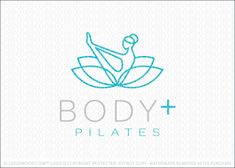 Pilates and yoga natural wellness lotus logo design, featuring a stylized female figure in a yoga/pilates pose. The female figure is designed to flow seamlessly into a blossoming lotus flower. Simple line create this unique, powerful and modern logo design. Excellent logo for a wide range of natural health and fitness companies. (yoga, pilates, stretching, …