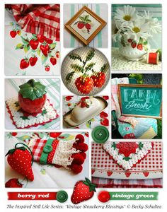 """""""Vintage Strawberry Blessings"""" montage - Becky Schultea at Just Bee 'n Me"""