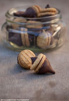 Peanut butter-chocolate acorn cookies