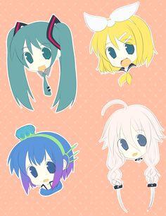Vocaloid Pin Sketches =w= Anime Chibi, Anime Art, Aoki Lapis, Fandom Jokes, Vocaloid Characters, Hatsune Miku, Awesome Art, Anime Stuff, Cute Art