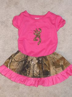 Pink camo skirt and shirt outfit. by CustomSewingbyTonya on Etsy, $27.00