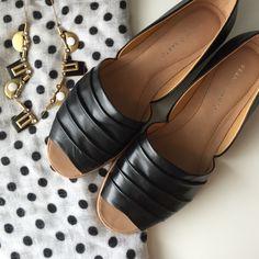 Black flats Franco Sarto leather open toe d'orsay flats. Franco Sarto Shoes Flats & Loafers