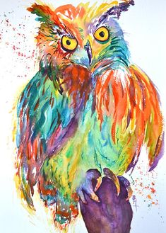 A boldly colorful owl perches fancifully against a loosely splattered white background. The vibrant rainbow of colors and patterns suggest this painting as a perfect addition to a child's room, nursery, kitchen, bathroom or anywhere you can appreciate a light-hearted and whimsical element