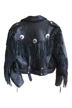 Vintage Fringe Black Leather Jacket with silver conchos buckles crop 80s style by Hot Leathers biker motorcycle braided detail mens womens by VELVETMETALVINTAGE on Etsy