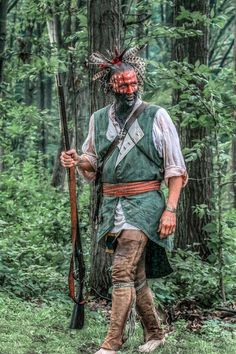 Shawnee (?) warrior photo by Randy Steele. [The Shawnee Tribe are an Eastern Woodland tribe. They originally came from Ohio and were the last of the Shawnee to leave their traditional homelands there.]