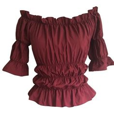 Burgundy Gothic Peasant Gypsy Medieval Top Blouse (€24) ❤ liked on Polyvore featuring tops, blouses, gothic tops, gypsy top, red top, red blouse and goth top