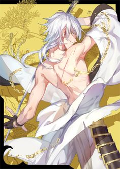 White hair anime guy with sword Anime Neko, Got Anime, Anime Manga, Anime Art, Touken Ranbu, Hot Anime Boy, Anime Guys, Anime Sword, Chibi