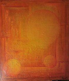 Solens univers 70x60 cm. Akryl på lerret m/ strukturer (mixed media).  Bildet går i fargene: Gul, okergul, orange, brent orange, rød-orange, rødbrun, rust, brun.(beklager at bildet ser litt rødere ut her enn i virkeligheten)   For å se detaljer eller strukturer osv. i maleriet, kan du klikke opp bildet eller bevege musepekeren over bildet.