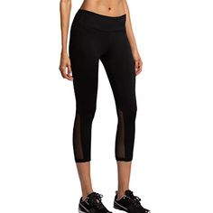 FWN Yoga Capris for Women Sports Fitness Running Active Leggings Workout Mesh Pants with Hidden Zipper Pocket Medium >>> Click image to review more details.
