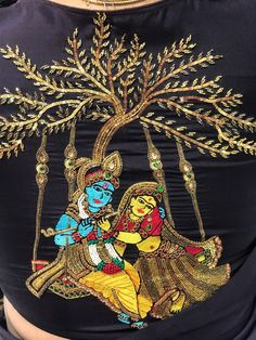 Radha krishna .. Zardosi Embroidery, Tambour Embroidery, Hand Work Embroidery, Embroidery Motifs, Sari Blouse Designs, Fancy Blouse Designs, Bridal Blouse Designs, Border Embroidery Designs, Machine Embroidery Designs