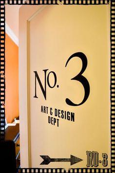 love the vinyl lettering on the bedroom doors