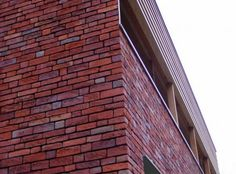 Woning te Stevoort - De kleur van de bakstenen gaande van fel oranje,  over rood tot donkerblauw.