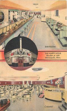 The Happy Hour Restaurant/Bar Minneapolis Minnesota 1950s Postcard