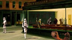 Parody of Edward Hopper's 'Nighthawk' painting of a diner at night with Star Wars characters.