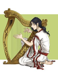 Maglor, playing his harp. Tolkien Books, Jrr Tolkien, D D Characters, Fantasy Characters, Lotr, O Silmarillion, Elf Drawings, Legolas And Thranduil, Middle Earth