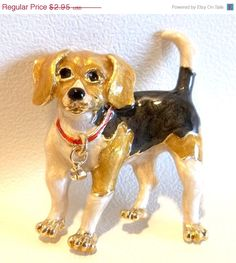 enamel Beagle dog pin brooch by dollherup on Etsy, $2.66