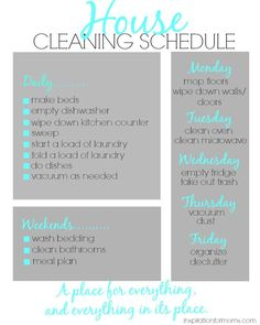 Don't spend all day cleaning your house! Do what I do and tackle a few things everyday. Print my house cleaning schedule and keep a clean house easily!