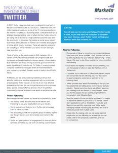 Tips for the Social Marketer Cheat Sheet: Twitter