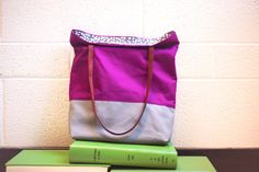 plum aubergine  purple gray color block tote by rougeandwhimsy, $50.00