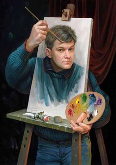 Self-portrait by Miliani Rachid. This is awesome. Like Norman Rockwell, but kinda cooler