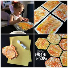 Bee Crafts For Kids, Art For Kids, Bubble Wrap Art, Bubble Wrap Crafts, Bee Activities, Art Lessons Elementary, Elementary Schools, Bee Ring, Poster