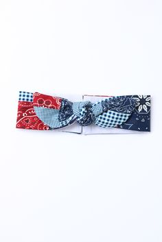 Paisley Reversible Motley 4th of July headband. Patriotic bow head wrap. Bandana print